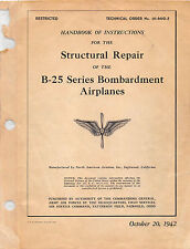 B-25 Series Bombardment Airplanes Structural Repair 1942 Flight Manual -  CD