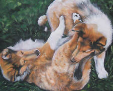 Rough Collie CANVAS art PRINT painting dog LSHEP 8x10