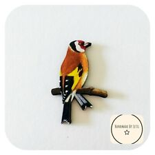 Goldfinch bird Wooden brooch✨wooden 💛 Handmade ✨red yellow 60mm