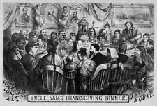 UNIVERSAL SUFFRAGE UNCLE SAM THANKSGIVING DINNER NEGRO CHINESE EMIGRANTS INDIAN