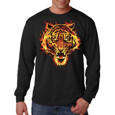 Tiger Flames Cat On Fire Flaming Cool Animal Lovers Long Sleeve T-Shirt Tee