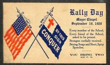 USA UX20 POSTAL CARD INDIANA RALLY DAY MAYER CHAPEL RED CROSS ADVERTISING 1909