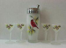 Vintage Mid Century Gay Fad Cardinal Cocktail Set Shaker Martini Glasses
