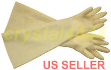 "Industrial Shoulder Length Latex Rubber Gloves Long Cuff 24"" Acid Resistant"