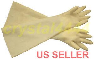 "Industrial Shoulder Length Latex Rubber Gloves Long Cuff 24"" Acid Resistant"