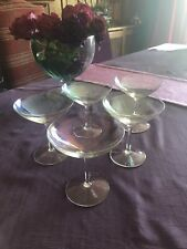 A Set Of Five Champagne Saucers With Lovely Rainbow Coloured Glass NEW