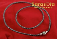 "Pandora Gray Braided Triple Leather Charm Bracelet 21.5"" 55cm"
