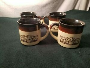Vintage 1986 Hardee's Rise And Shine Homemade Biscuits Coffee Mugs Set Of 4