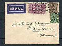 Luftpostbrief Indien MiF 1/2, 1 plus 8 Annas nach Riesa - b2479
