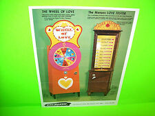 Mike Munves WHEEL OF LOVE + LOVE TESTER Original Mechanical Arcade Game Flyer
