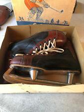Vtg 60s Ccm Senior A Leather 2 Tone Ice Hockey Skates Mens Sz 11-12 Made Canada