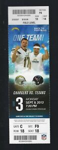 DEANDRE HOPKINS DEBUT - 2013 NFL TEXANS @ CHARGERS FULL UNUSED FOOTBALL TICKET