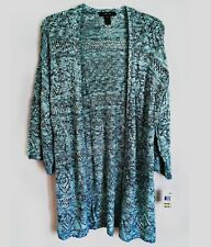 Style & Co Open Front Crochet Cardigan Sweater Mint Marled Kimono Sleeve Medium