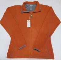 NEW Antigua Women's Fleece Full Zip Pockets Burnt Orange Gray Ice Jacket S Small