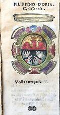 1586 ARALDICA STEMMA FILIPPO DORIA Conte di Canosa Regno Napoli