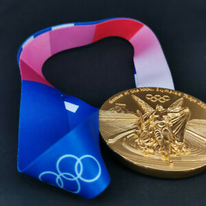 2020 2021 Japan Tokyo Olympic Game Replica Gold Medal With Ribbon 1:1 Size HOT