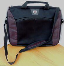"""Swiss Gear 15"""" Laptop Bag Black & Purple Soft Briefcase Should Strap Case"""