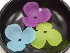 30 Mixed Color Frost Acrylic Large 3 Petal Flower Bead Cap 34mm With Center Hole