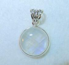 Rainbow Moonstone Flashy Thick Round Pendant with Border 925 Sterling Silver