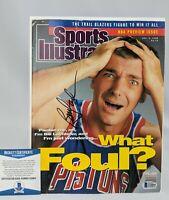 Bill Laimbeer Autographed Magazine Sports Illustrated Beckett COA Pistons Auto