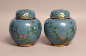 A FINE PAIR OF HEAVY ANTIQUE CHINESE CLOISONNE BRONZE GINGER JAR VASES