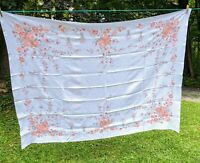 """Vintage 50's Cotton Tablecloth Fall Pine Cone Tree Leaf Floral 50"""" X 66"""""""