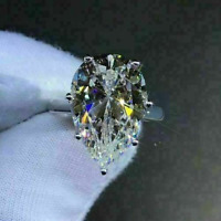 Engagement Ring Pear Cut White Moissanite Solitaire 4.25Ct 14K White Gold Over