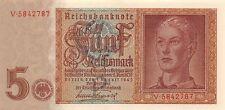 Reichsbanknote 5 Reichsmark 1.8.1942 Geldschein Ro: 179 A Kassenfrisch / UNC