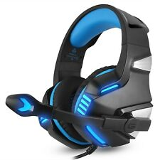 Blue Gaming Headset MIC 3.5mm LED Light Headset For PC Laptop PS4 Xbox One 360
