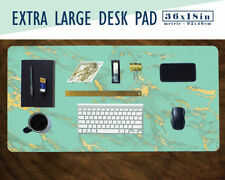 """Mint and Gold Marble Print Extra Large Desk Pad 36x18"""" Extended Mouse Pad"""