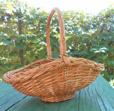 Hand Crafted Willow Wicker Basket with Handle Floral Decor 14 inch Food Basket