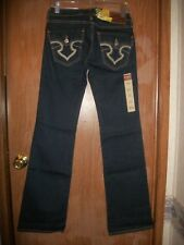 NWT BIG STAR DARK WASH REMY BOOTCUT EMBROIDERED PCKT JEANS SZ 25 LONG $108.