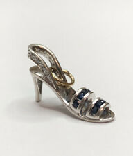Designer 14K White Gold Diamond & Sapphire Stiletto Heel Shoe Pendant Charm #1