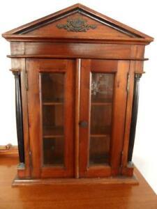 Vintage Reproduction of Antique Mahogany & Ebony Curio shelf 2 door cabinet