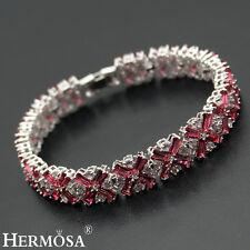 """Mother's Day Sale. Hermosa 925 Sterling Silver Cherry Red Topaz Bracelets 7"""""""