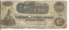 T-40 $100 Bank Note CSA 1862 Confederate Currency Train Paddleboat #36620