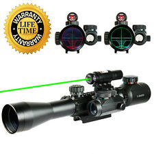 UUQ 3-9x40 Tactical Illuminated Rifle Scope W/ GREEN Laser and Red Dot Sight
