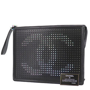 CHANEL LED Light CC Logos Used Clutch Bag Black Leather Italy Authentic #AD843 O