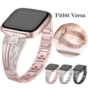 Rhinestone Stainless Steel Alloy Watch Bracelet Band Strap For Fitbit Versa / 2