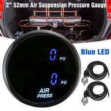 2'' 52mm PSI Air Pressure Gauge Blue LED Dual Digital Display Ride Gauge