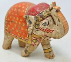Hand Carved Wooden Elephant Figurine Statue Rustic Hand Painted