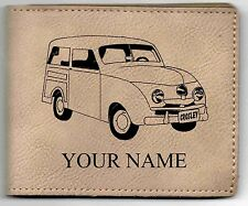 Crosley Wagon Leather Billfold With Drawing and Your Name On It-Nice Quality