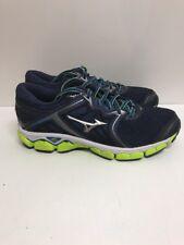 Mizuno Wave Sky Men's Sz 9 Navy Silver Lime Running Shoes 410942