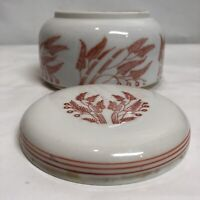 Japanese Porcelain Vintage Ginger Jar Round Dish W/lid Wheat/leaves Japan Rare