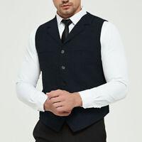 Vintage Navy Men Suit Vests Wool Herringbone Tweed Waistcoat Notch Lapel S-3XL