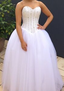 Debutante Dress Princess White. Corset Back.