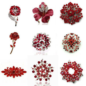Luxury Vintage Style Bridal Wedding Prom Corsage Red Flower Brooch Decoration