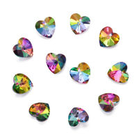 100Pcs Faceted Silver Plated Bottom Heart Electroplated Glass Pendants 14x14x8mm