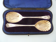 BOXED Pair of SOLID SILVER Fruit Serving SPOONS. Lon 1899, Jackson & Fullerton
