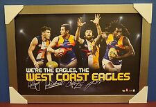 West Coast Eagles Signed AFL Print SILVER Frame Darling Naitanui Kennedy Shuey